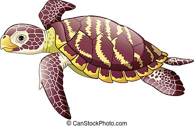 Cartoon sea turtle isolated on white background -...