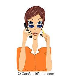 cartoon secretary talking on phone