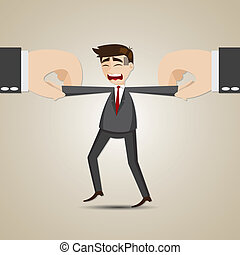 cartoon selected businessman pulling by another hand -...