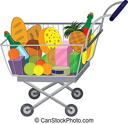 Grocery store shopping cart with food items - Illustration...