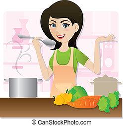 illustration of cartoon smart girl cooking vegetarian soup in kitchen