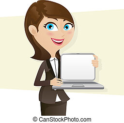 cartoon smart girl showing laptop blank screen -...