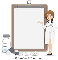 cartoon smart pharmacist presentation with blank clip board...