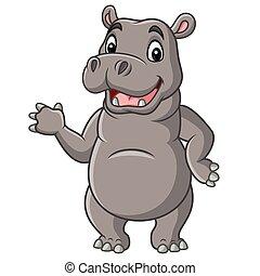 Cartoon smiling hippo waving hand