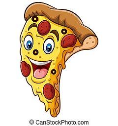Cartoon smiling pizza mascot design