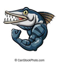 Cartoon strong angry barracuda fish mascot
