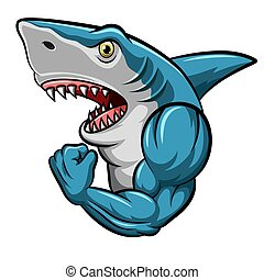 Cartoon strong shark mascot design