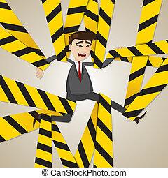cartoon tangled businessman - illustration of cartoon...