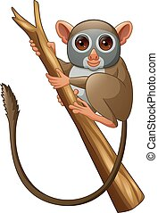 Cartoon Tarsius on a tree branch