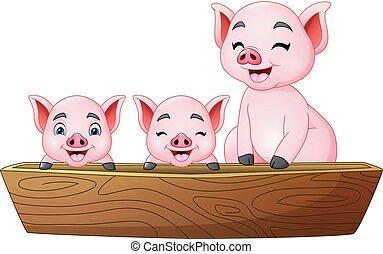 Cartoon three little pig riding on a boat