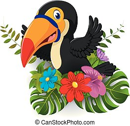 Cartoon toucan with tropical flower and leave background