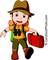 Cartoon traveler with a large backpack