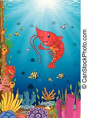 Cartoon tropical lobster with beautiful underwater world