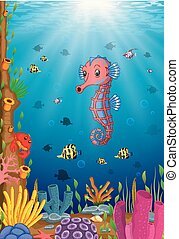 Cartoon tropical sea horse with beautiful underwater world
