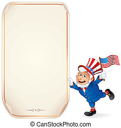 Cartoon Uncle Sam with Sign