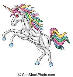 Cartoon white unicorn standing with a mane rainbow