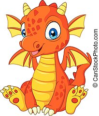 Cartoon young dragon sitting