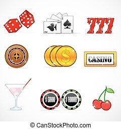 casino icons - illustration of casino icons on white...