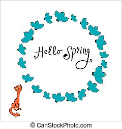 Illustration of cat and bird, frame with  text Hello spring