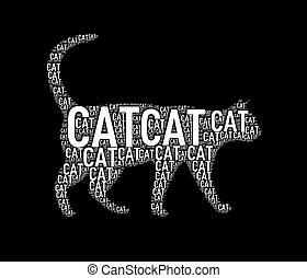 Illustration of cat shape wordtags wordcloud