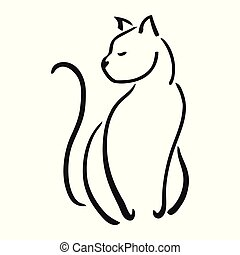 Illustration of cat sitting pretty with tail curled