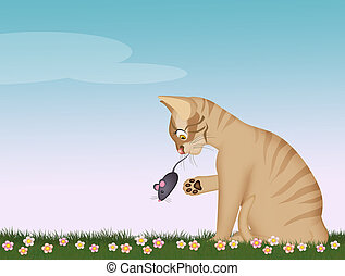 illustration of cat with mouse