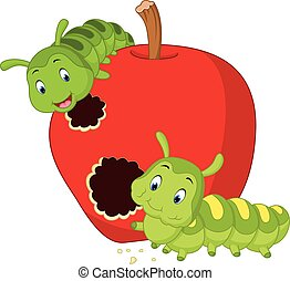 caterpillars eat the apple - illustration of caterpillars ...