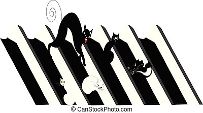 illustration of cats on a roof of a house, black and white