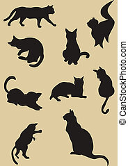 Illustration of cats silhouettes