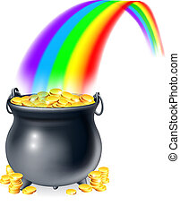 Pot of gold at the end of the rainb - Illustration of...