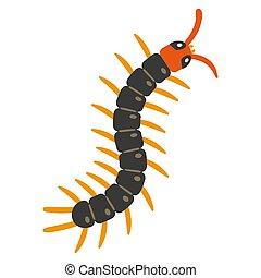 Illustration of centipede on white background.