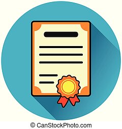 certificate circle blue flat icon