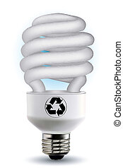 cfl bulb with recycle symbol - illustration of cfl bulb with...