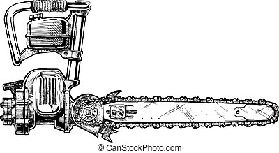 illustration of chainsaw - Vector hand drawn illustration of...