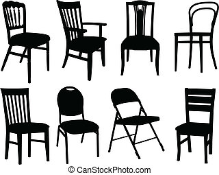 chairs collection - vector - illustration of chairs ...