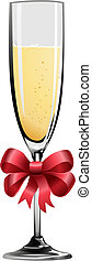 Illustration of champagne glass with red ribbon