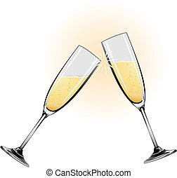 Illustration of champagne glasses knocking together during a...