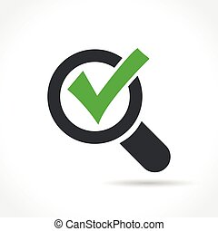 check magnifying icon on white background