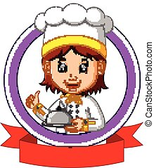 chef cook holding plate dish