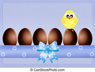 chick and chocolate eggs - illustration of chick and...