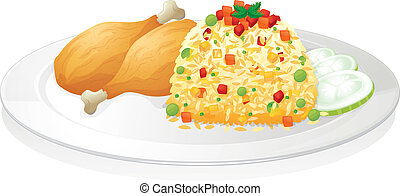illustration of chicken with salad in red dish
