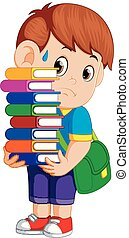 child carrying many books