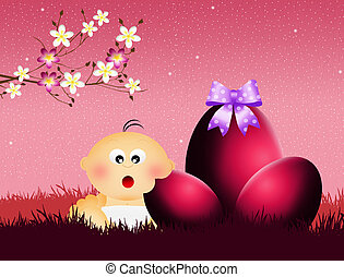 child eating chocolate eggs - illustration of child eating...