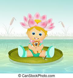 child on lotus
