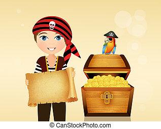child pirate with treasure box