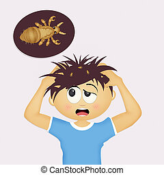 child with head lice - illustration of child with head lice