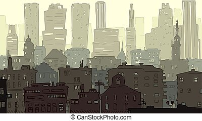 Illustration of childish hand drawed cityscape. - Vector...