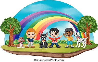 Children and dogs in the park on rainbow day