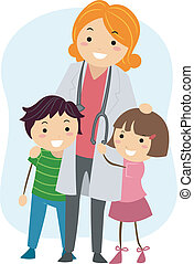 Pediatrician - Illustration of Children Clinging on to a ...