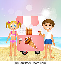 children eating ice cream on the beach
